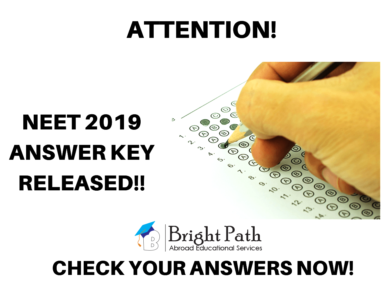 NEET UG 2019: NTA released the Official answer keys and OMR sheet.